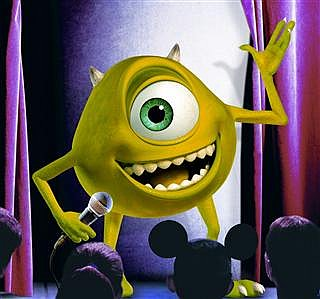 Mike Wazowski with mic
